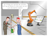 Cartoon: Shopfloor (small) by CloudScience tagged shopfloor,lean,management,industrie,40,industrie40,fertigung,produktion,roboter,robotik,roboterarm,kuka,it,tech,technik,technologie,digital,digitalisierung,iot,smart,ki,ai,kuenstliche,intelligenz,zukunft,innovation,disruption,digitale,transformation,arbeiter,manager,unternehmen,business,prozess,wirtschaft