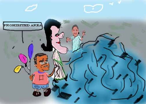 Cartoon: sonia Gandhi rally (medium) by anupama tagged sonia,gandhi,rally