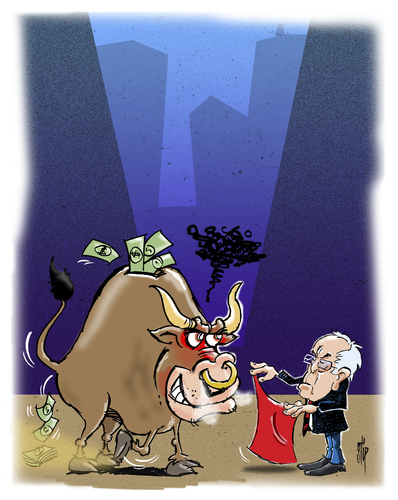Cartoon: Bernies Take On Wall Street (medium) by stip tagged bernie,sanders,democrat,independent,usa,elections,feelthebern,primaries,caucus,bernie,sanders,democrat,independent,usa,elections,feelthebern,primaries,caucus