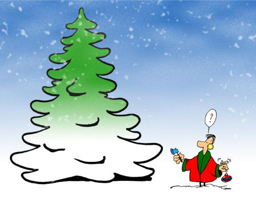 Cartoon: Man against Nature (medium) by stip tagged christmas,xmas,axe,snow,tree,pine