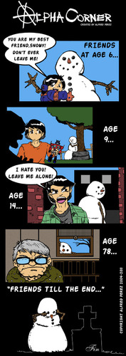 Cartoon: Snowy the Snowman (medium) by thetoonist tagged snowman,drama,winter,imaginary,friend,sentimental,friendship