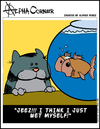 Cartoon: Wet (small) by thetoonist tagged cats,goldfish,humor,funny,anthology