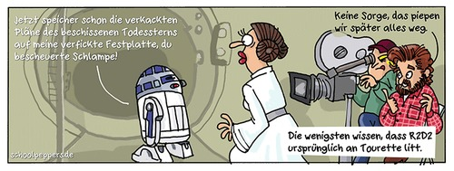Cartoon: Schoolpeppers 313 (medium) by Schoolpeppers tagged star,wars,roboter,r2d2,prinzessin,leia,tourette