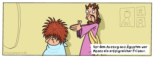 Cartoon: Schoolpeppers 66 (medium) by Schoolpeppers tagged beruf,friseur,religion