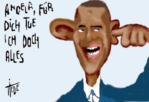 Cartoon: Obama tut alles (medium) by tiede tagged obama,nsa,merkel,obama,nsa,merkel