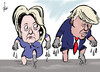 Cartoon: Clinton - Trump (small) by tiede tagged hillary,clinton,donald,trump,usa,tiede,cartoon,karikatur