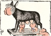 Cartoon: European breastfeeding (small) by tiede tagged euro,crisis,debt,merkel,spain,greece,kapitol,wölfin,romulus,remus,rom,europe,moodys,tiede,joachim,tiedemann,cartoon,karikatur