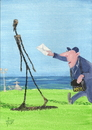 Cartoon: Un momento -  Senior Giacometti (small) by tiede tagged giacometti,bildhauer,sculpture,moderne,existenzialismus,cartoon,kunst,tiedemann,post,briefträger