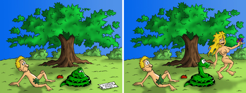 Cartoon: Adam and Eve (medium) by Ludus tagged adam,eve,paradise