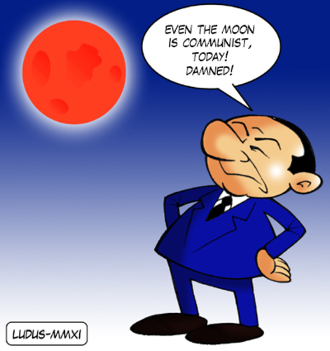 Cartoon: Berlusconi and the red Moon (medium) by Ludus tagged moon,berlusconi