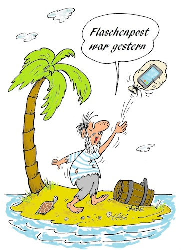 Cartoon: Flaschenpost-Handy (medium) by BuBE tagged flaschenpost,handy,insel,inselwitz,nachricht