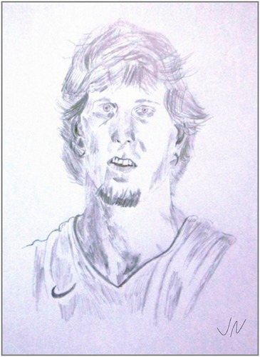 Cartoon: Dirk Nowitzki (medium) by Jochen N tagged dirk,nowitzki,portrait,ball,basketball,dallas