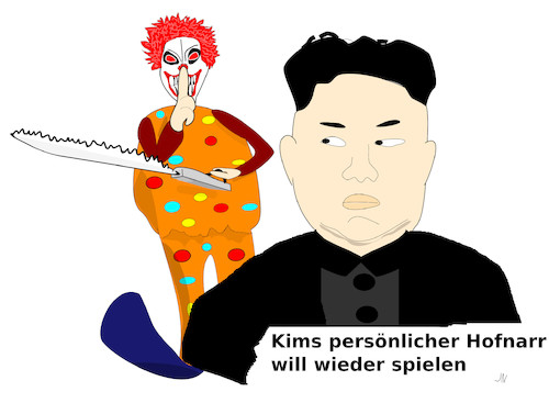 Cartoon: Kim Jong-un (medium) by Jochen N tagged kim,jong,un,grusel,clown,horror,spiel,pervers,abartig,narr,hofnarr,grauen,nordkorea,fernost,diktator,bedrohung,drohung,krieg,tod,furcht,schrecken,schauder,gewalt