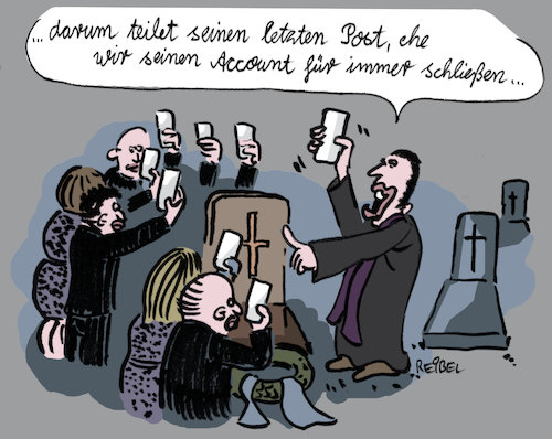 Cartoon: offline (medium) by REIBEL tagged grab,beerdigung,friedhof,smartphone,post,tweet,digital,erbe,internet,grab,beerdigung,friedhof,smartphone,post,tweet,digital,erbe,internet