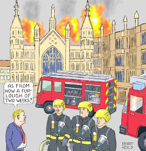 Cartoon: Johnson Chief of Fire Brigades (medium) by Barthold tagged boris,johnson,prorogation,parliament,parliamentary,work,coup,exclusion,wesminster,hall,firefighter,fire,truck,engine,brexit
