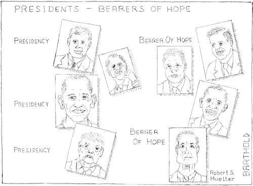 Cartoon: Presidents - Bearers of Hope (medium) by Barthold tagged president,bearer,hope,john,kennedy,bill,clinton,barak,obama,donald,trump,robert,mueller,special,counsel,russia,probe,paul,manafort,michael,flynn,rick,gates,george,papadopoulos,money,laundering,tax,evasion,historical,review,presidencies,collusion,usa