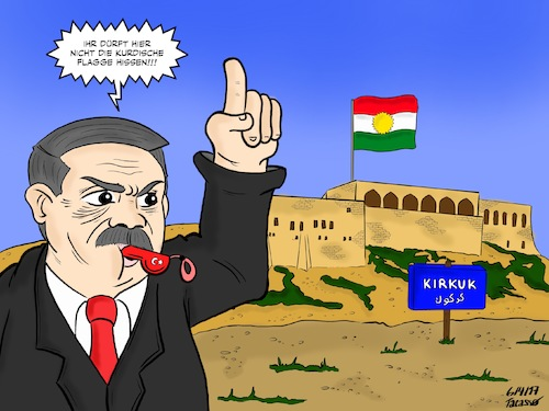 Cartoon: Erdogan_Kurdistan_Kirkuk (medium) by Tacasso tagged erdogan,türkei,turkey,kurdistan,kurden,kirkuk,kurdish,kurdisch,kurds,kdp,akp,barzani,naher,osten