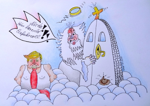 Cartoon: trump an der himmeltür (medium) by katzen-gretelein tagged politik,trump,himmel,einfuhrzoll