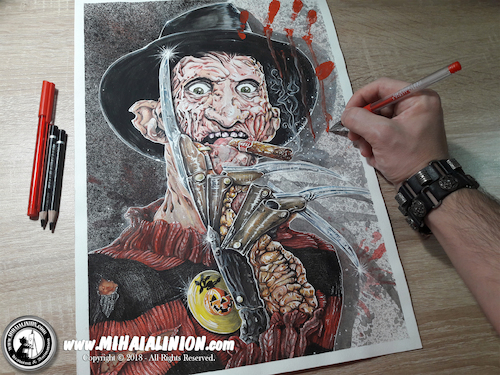 Cartoon: Drawing Fruegger - Dark Art (medium) by Art by Mihai Alin Ion tagged drawing,illustration,painting,freelancer,mihaialinion,horror,halloween,freddykrueger,darkart,pencildrawing