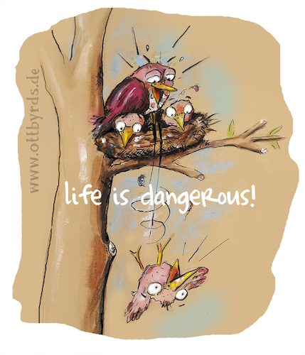 Cartoon: Life is dangerous (medium) by OTTbyrds tagged danger,life,experience,nestflüchter,gefahr,ottbyrds