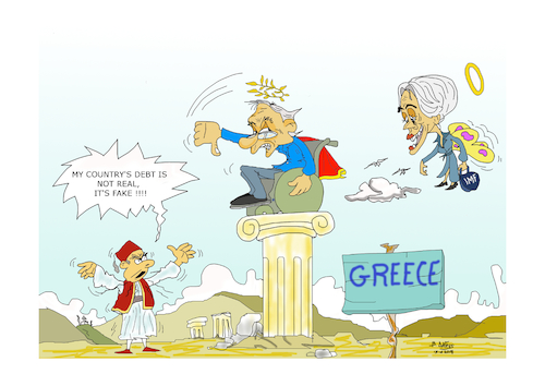 Cartoon: greak people soiple lagarde (medium) by vasilis dagres tagged debt,creece