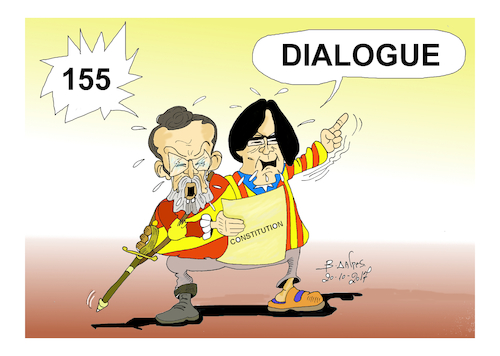 Cartoon: katalonia (medium) by vasilis dagres tagged katalonia,155,dialogue,constitution