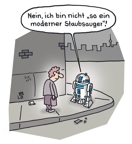 Cartoon: Verwechselung (medium) by Lo Graf von Blickensdorf tagged roboter,star,wars,skywalker,imperium,staubsauger,r2d2,darth,vader,george,lucas,karikatur,lo,cartoon,oma,straße,outdoor,begegnung,gehweg,bürgersteig,science,fiction,roboter,star,wars,skywalker,imperium,staubsauger,r2d2,darth,vader,george,lucas,karikatur,lo,cartoon,oma,straße,outdoor,begegnung,gehweg,bürgersteig,science,fiction