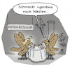Cartoon: Westen (small) by Lo Graf von Blickensdorf tagged westen,wiedervereinigung,motten,ost,west,ddr,restaurant,ehepaar,beziehung,mann,frau,schicksalstag,maueröffnung,mauerfall,karikatur,satire,cartoon,lo