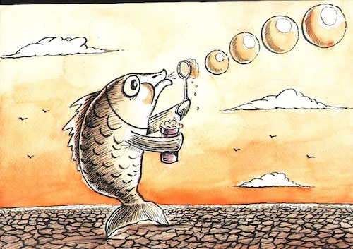 Cartoon: a fish (medium) by vadim siminoga tagged global,warming