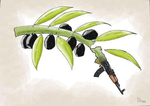 Cartoon: Olive branch (medium) by Orhan ATES tagged olive,war,peace,the,human,race,humanity