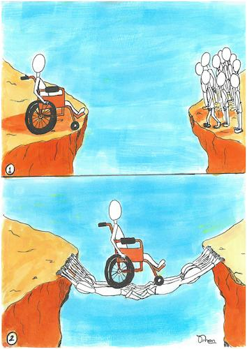 Cartoon: Respect (medium) by Orhan ATES tagged respect,human,obstacle,disabled,society,victory