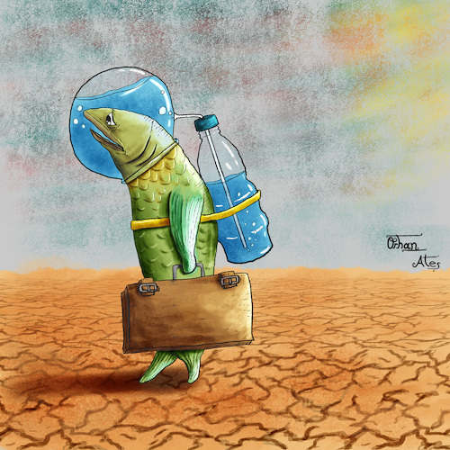 Cartoon: Water (medium) by Orhan ATES tagged water,life,without,earth,planet,future,danger,nature,animals,human,humanity,drought