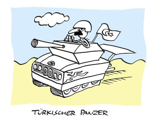 Cartoon: Erdogans Truppen (medium) by Bregenwurst tagged türkei,kurden,panzer,offensive,krieg,syrien,bmw