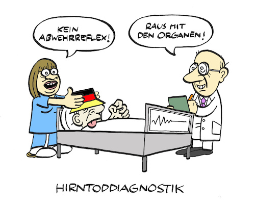 Cartoon: Hirntod (medium) by Bregenwurst tagged hirntod,organspende,pegida,nazis,klinik,exitus