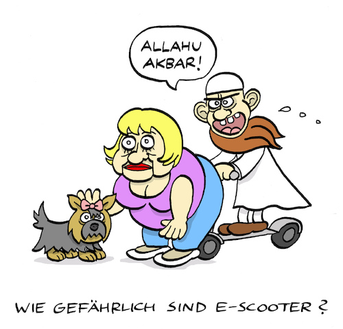 Cartoon: Risiko E-Scooter (medium) by Bregenwurst tagged elektromobilität,scooter,islamismus,tretroller,hündchen