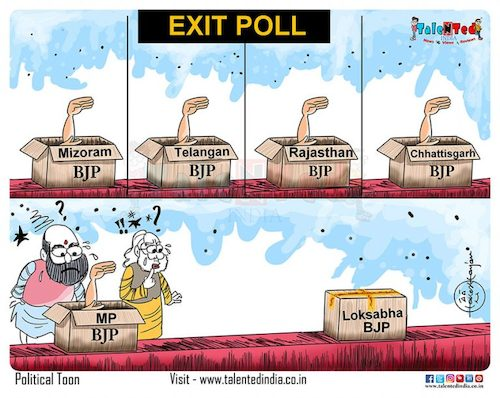 Cartoon: Exit poll or exit party? (medium) by Talented India tagged cartoon,talented,talentedindia,talentednews,view,exit