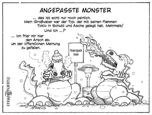Cartoon: Angepasste Monster (medium) by FliersWelt tagged monster,raucher,verbote,