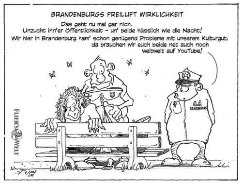 Cartoon: Brandenburgs Freiluftwirklichkei (medium) by FliersWelt tagged freiluft,brandenburg,park