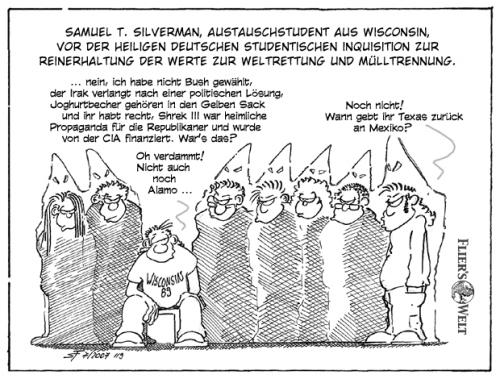 Cartoon: Ein Amerikaner in Deutschland (medium) by FliersWelt tagged amerika