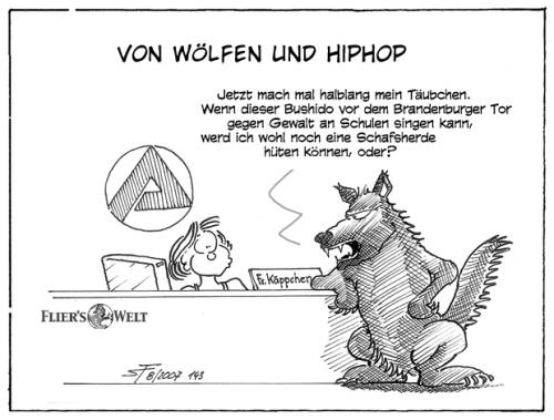 Cartoon: Von Wölfen und HipHop (medium) by FliersWelt tagged berlin,bushido,hiphop
