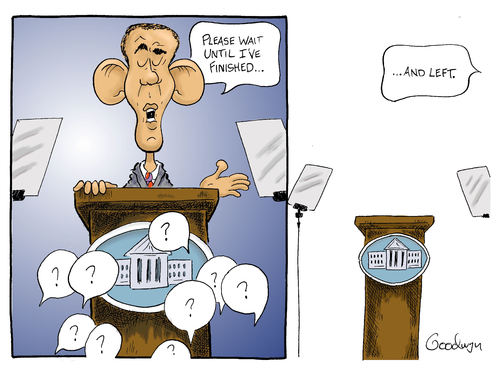 Cartoon: Questions? (medium) by Goodwyn tagged house,white,question,teleprompter,podium,obama