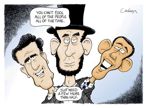 Cartoon: Reflections on Lincoln (medium) by Goodwyn tagged election,lincoln,romney,obama