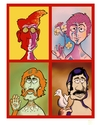 Cartoon: Beatles (small) by Goodwyn tagged beatles,reagan,john,paul,george,ringo,lennon,mccartney,harrison,starr,bird,flower,psychodelic