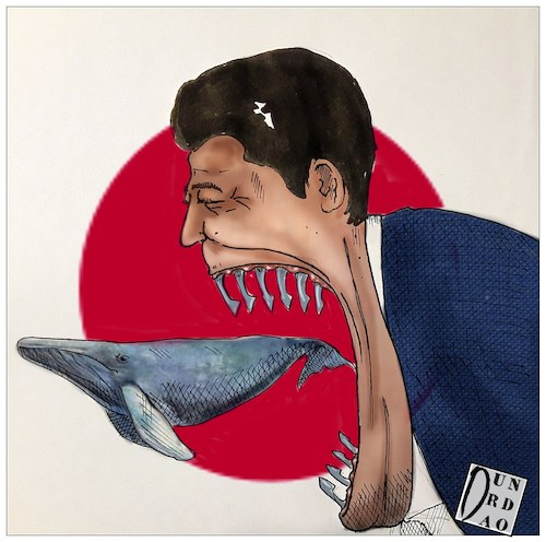 Cartoon: Japan reopens whale hunting (medium) by Christi tagged maran,whale