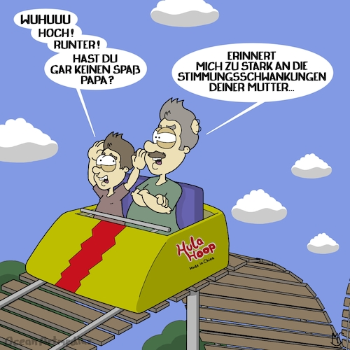 Cartoon: Achterbahnfahrt (medium) by Ocean Artmedias tagged cartoon,toon,funny,lustig,humor,satire,sketch