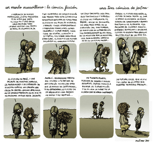 Cartoon: la ciencia ficcion (medium) by mortimer tagged mortimer,mortimeriadas,cartoon,comic,tira,postapocaliptico,zombies,zombis,futuro,presente,pasado,pulp,ciencia,ficcion,filosofia