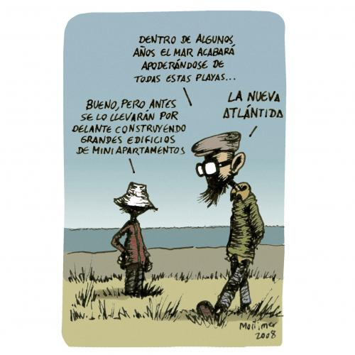 Cartoon: un mundo maravilloso (medium) by mortimer tagged cartoon,mortimer,kids,nature,beach,strand,küste,hotel,meer,atlantis,kritik,umwelt,bauwirtschaft,apartment,natur