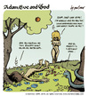 Cartoon: adam eve and god 17 (small) by mortimer tagged mortimer,mortimeriadas,cartoon,comic,gag,adam,eve,god,bible,paradise,eden,biblical,christian,original,sin,sex,nude,toons,hairy,belly,blonde,snake,apple
