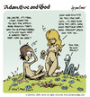 Cartoon: adam eve and god 18 (small) by mortimer tagged mortimer,mortimeriadas,cartoon,comic,gag,adam,eve,god,bible,paradise,eden,biblical,christian,original,sin,sex,nude,toons,hairy,belly,blonde,snake,apple