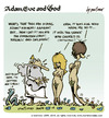 Cartoon: adam eve and god 21 (small) by mortimer tagged mortimer,mortimeriadas,cartoon,comic,gag,adam,eve,god,bible,paradise,eden,biblical,christian,original,sin,sex,nude,toons,hairy,belly,blonde